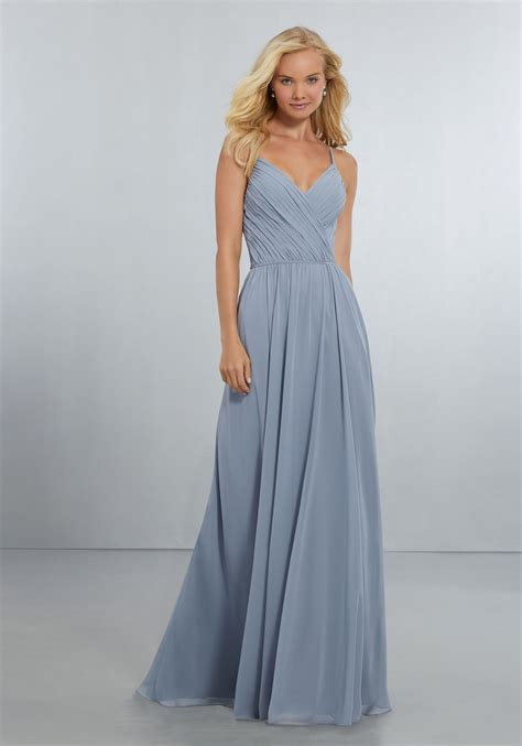 Chiffon Bridesmaid Dress by Chiffon Bridesmaids Dress With Draped V Neck Bodice And