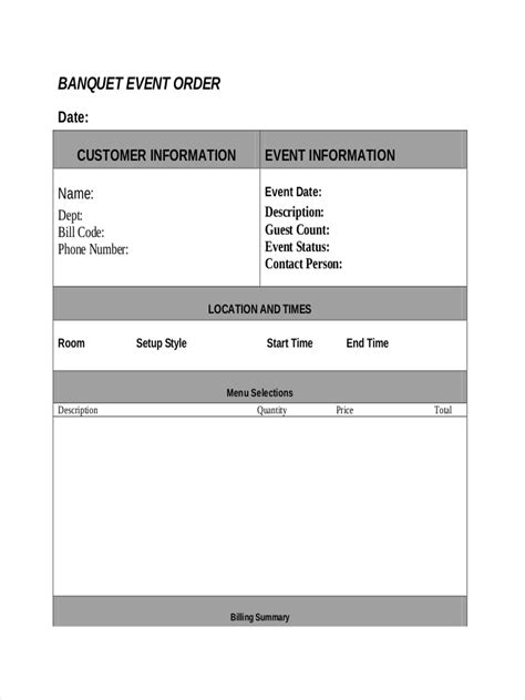 7 Exles Of Event Orders Banquet Event Order Template Pdf