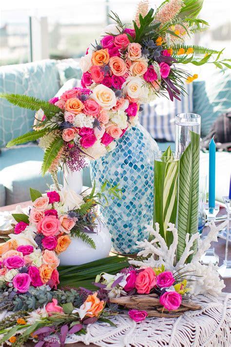 wedding decor tropical bouquet ideas beachy color palette exquisite weddings
