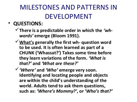 pattern of wh questions class 2 milestones and patterns in development