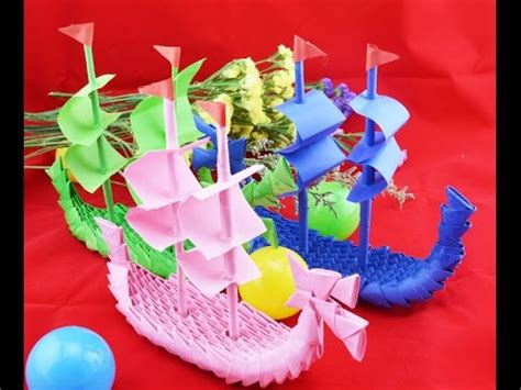 3d origami dragon boat tutorial how to made 3d origami boat youtube