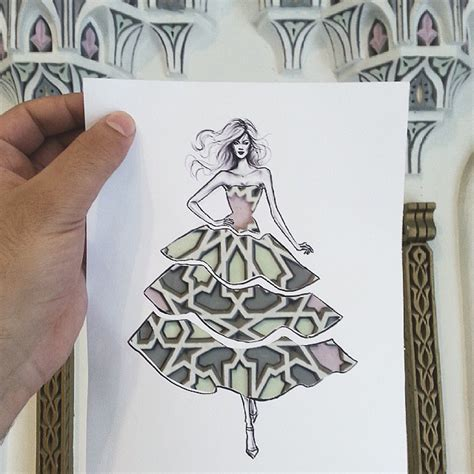 design instagram cutout illustrator completes his cut out dress sketches with