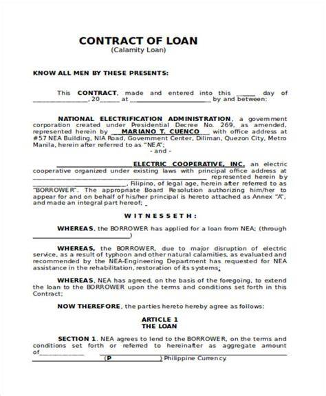Sle Loan Contract standard loan agreement template free 28 images loan agreement form exle 65 free documents