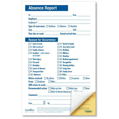 employee warning form employee absence report compact 2 part disciplinary forms