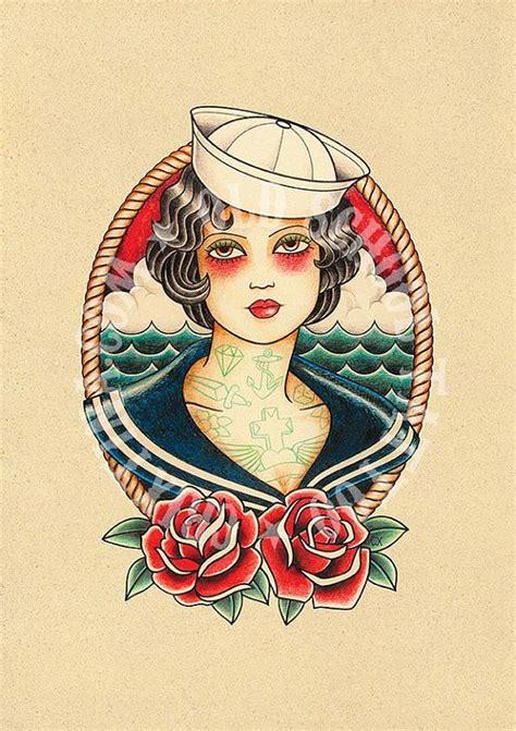 old school girl tattoo t03 sailor woman flash tattoo old school tattoo art