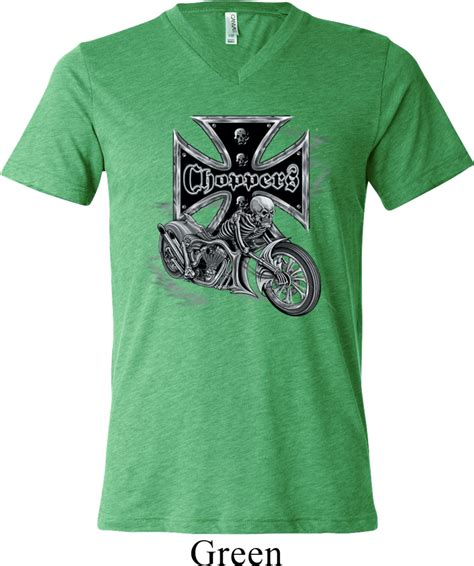 Hoodie Choppers 4 Jidnie Clothing mens biker shirt chopper cross skeleton tri blend v neck t shirt chopper cross skeleton