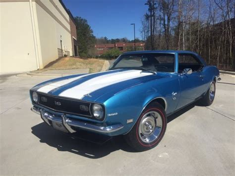 1968 blue camaro 1968 camaro ss california car nassau blue cowl induction