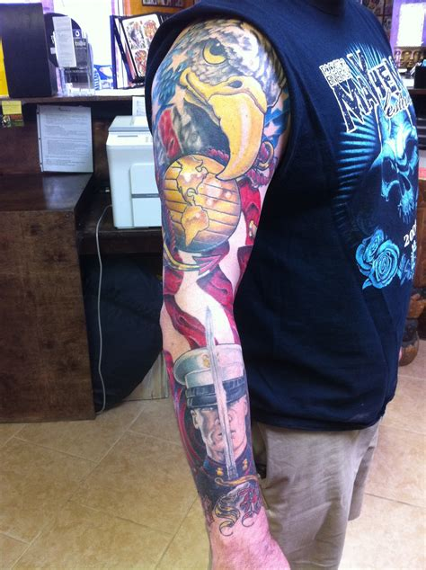 quarter sleeve tattoo marine corps marine corp sleeve progress chagotattoos