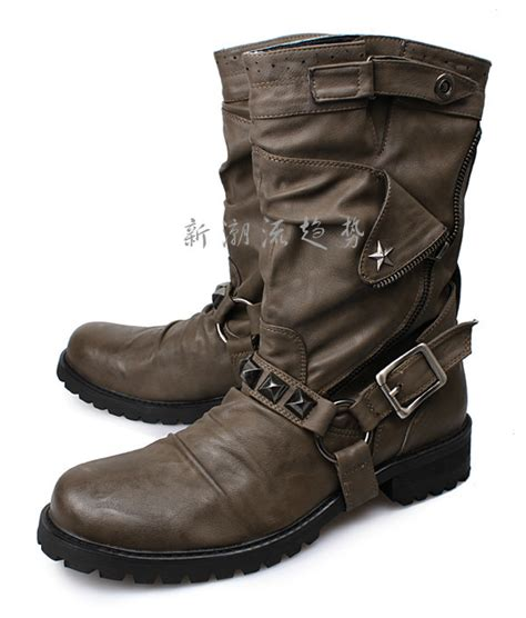 quality motorcycle boots high quality 2015 new fashion solid men boots cool buckle