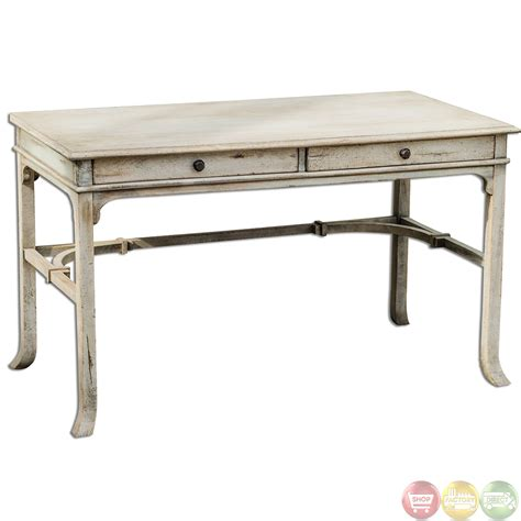 bridgely aged white finish solid wood writing desk 25602