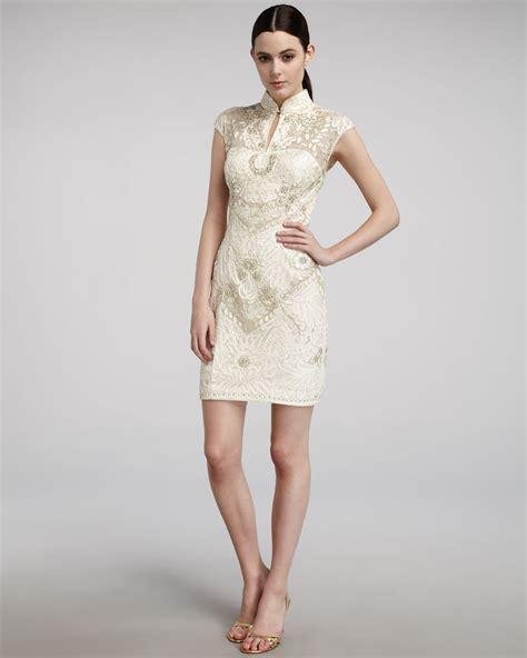 Mandarin Collar Sleeve Dress lyst sue wong mandarin collar cap sleeve dress in white