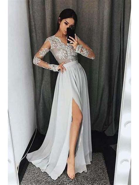 sleeves v neck lace prom evening formal dresses with