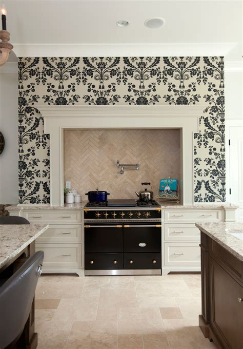 herringbone backsplash kitchen traditional with floral