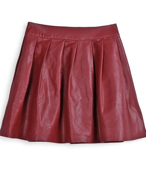wine pu leather pleated mini skirt shein sheinside
