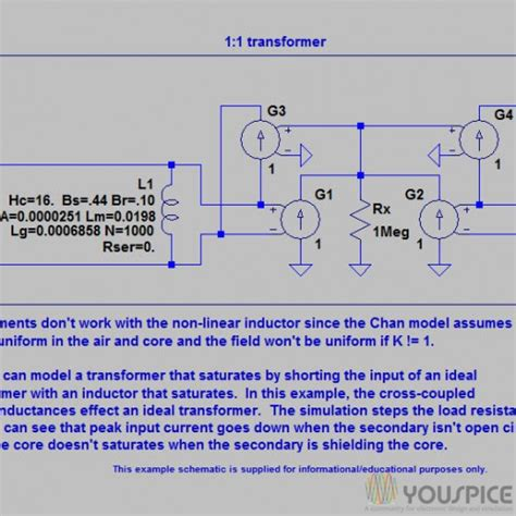 ltspice inductor properties spice model of non linear transformer youspice
