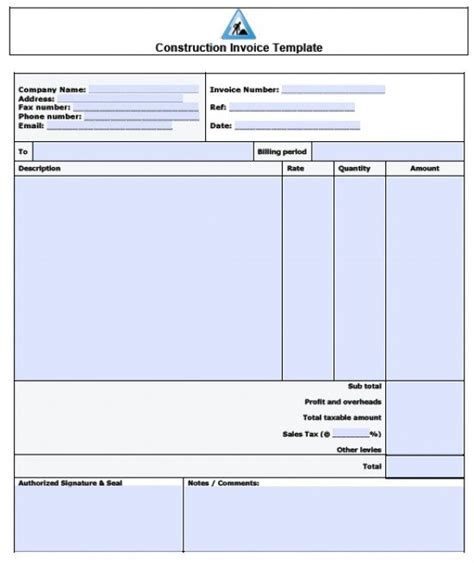 construction receipt template free construction invoice template excel pdf word doc