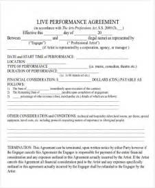 performance contract template performance agreement contract sle 9 exles in