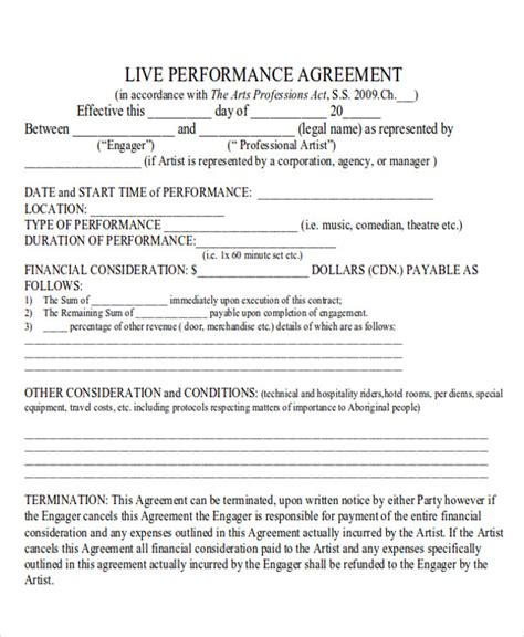 performance agreement template performance agreement contract sle 9 exles in