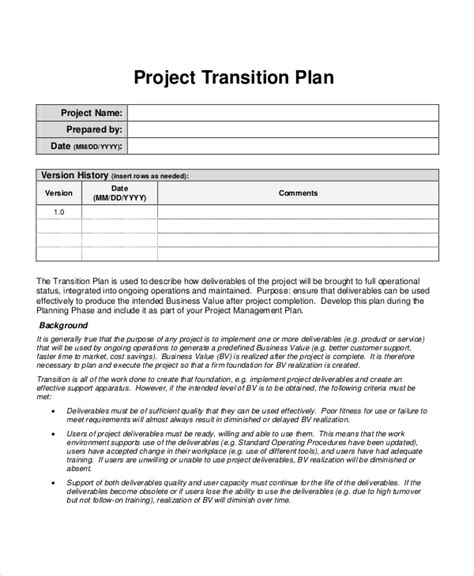 Operational Plan Template Project Transition Plan Template Project Plan Template 10 Free Just Do It Project Template