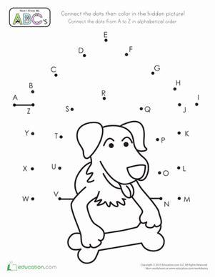 printable abc dot to dot worksheets alphabet dot to dot dog house worksheet education com