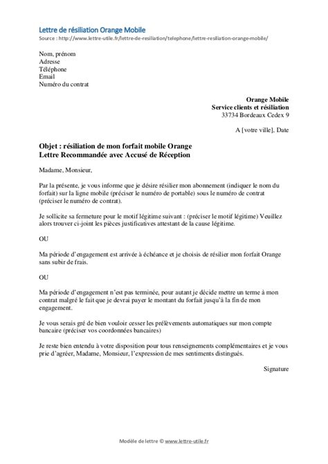 Lettre De Contestation Orange Mobile r 233 siliation orange mobile mod 232 le de lettre gratuit