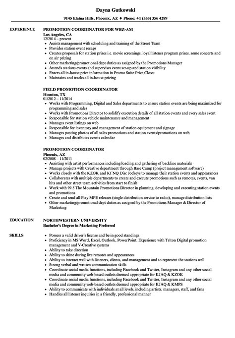Promotion Coordinator Resume Sles Velvet Jobs Promotion Resume Template