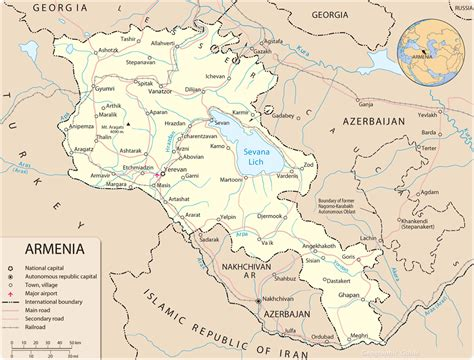 map of armenia armenia map capital yerevan