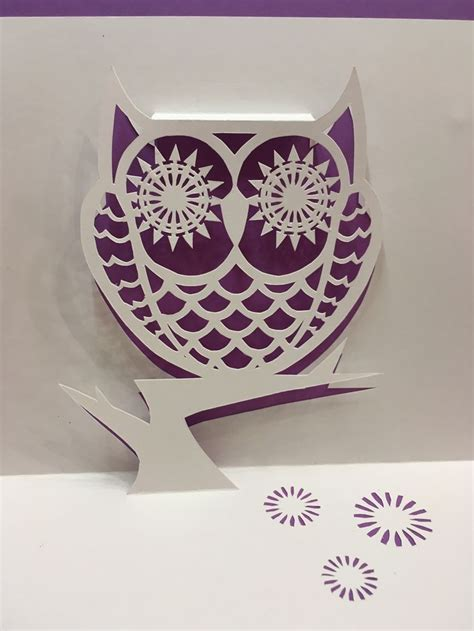 Owl Pop Up Card Template From Cahier De Kirigami 18 Nana Cards Pinterest Kirigami Card Pop Up Card Templates 2