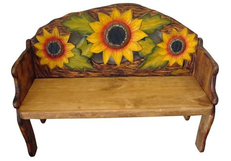 Painted Mexican Furniture by Sunflower Painted Solid Wood Rustic Bench Furniture