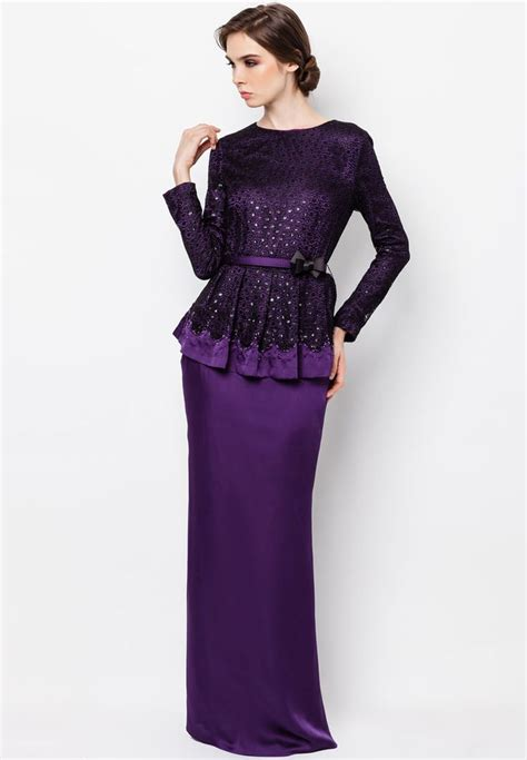 Strala Set Atasan Busana Muslim Maxi Dress Blouse Pant purple peplum baju kurung kebaya baju kurung peplum purple and baju kurung