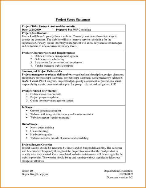 scope statement template project scope statement exle 6077902 png letter