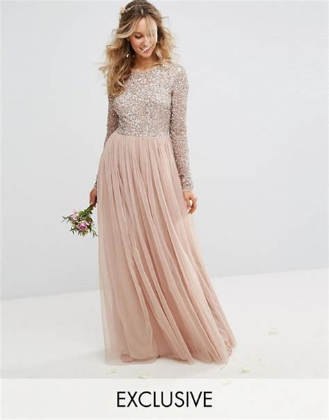 Mahya Dress sleeved maxi dress with delicate sequin