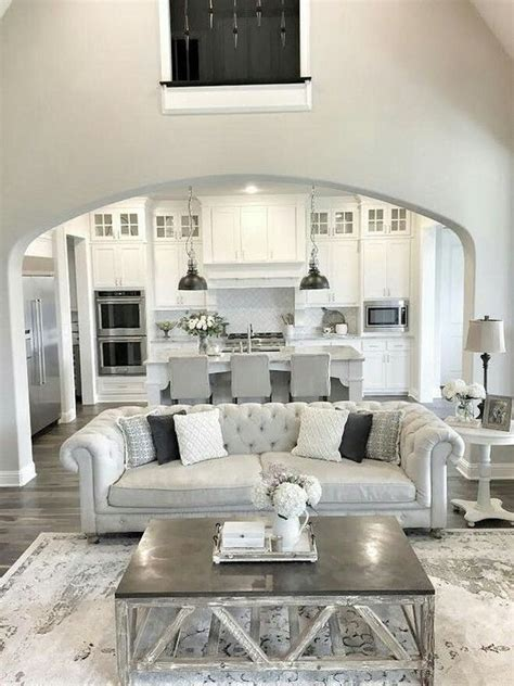 white and grey living room 30 spacious and airy open plan kitchen ideas digsdigs