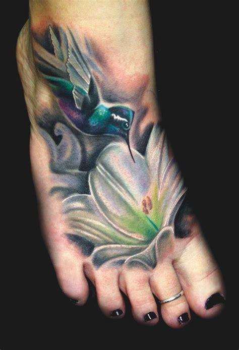 tattoo hummingbird flower colorful hummingbird foot tattoo tattoos pinterest