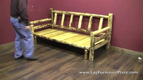 log couches cedar lake easy glide log futon rustic log sleeper sofa