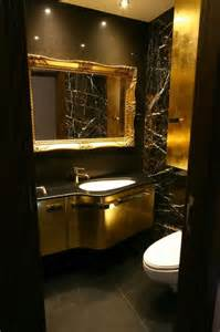 Black gold amp brown bathroom modern powder room london by