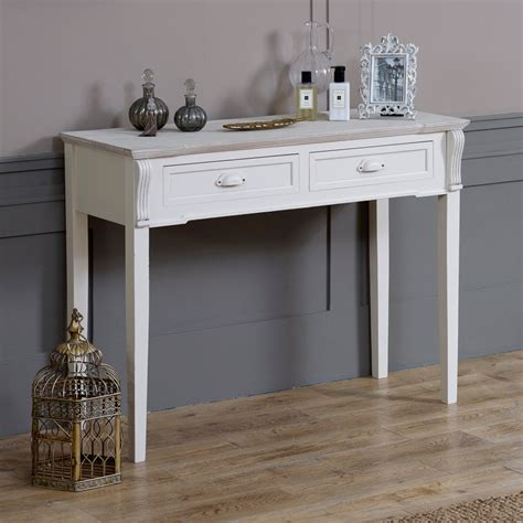 bedroom console table cream wooden console dressing table 2 drawers shabby