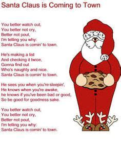 printable lyrics to santa claus is coming to town day 29 a song from my early childhood jingle bell song