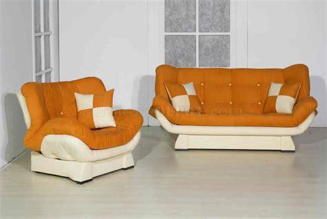 Orange Sofas Living Room Orange Two Tone Microfiber Living Room W Sleeper Sofa