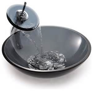 Bathroom Sinks Glass Bowls Kraus C Gv 104 12mm 10 Clear Black Glass Vessel Sink And