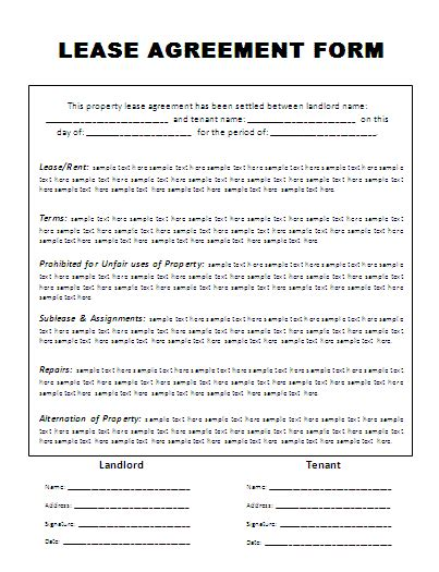 template for lease agreement rental agreement form free printable free word templates