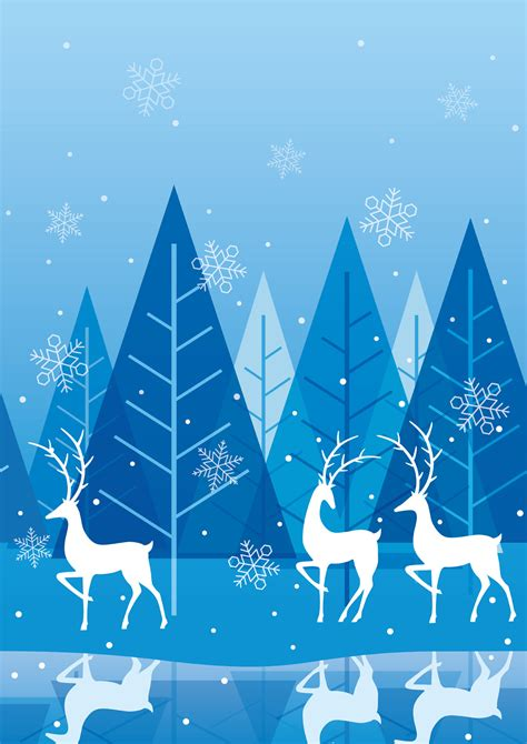 seamless winter forest background  reindeer   vector art stock graphics images