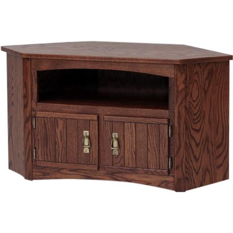 solid oak mission style corner tv stand cabinet 41