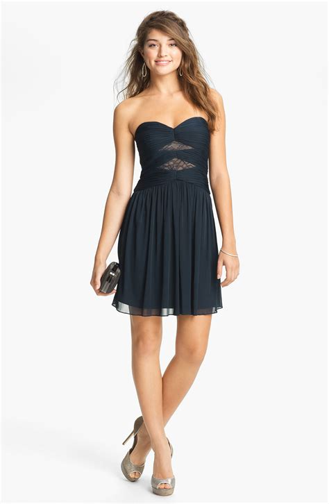 Cleeo Dress max cleo strapless mesh fit flare dress in black navy