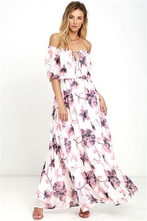 Maxidress Coleba lovely ivory dress floral print dress the shoulder
