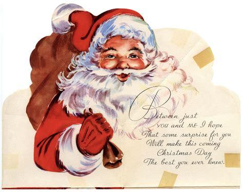 free printable postcards from santa santa says shhh vintage christmas card old design shop blog