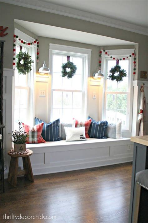 how to decorate a window seat bay window seat in kitchen decorated for christmas
