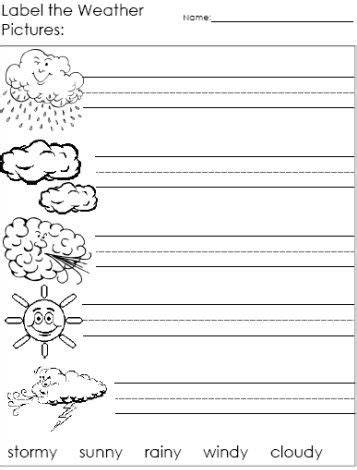 worksheets for preschoolers on weather label the weather words worksheets kids printables