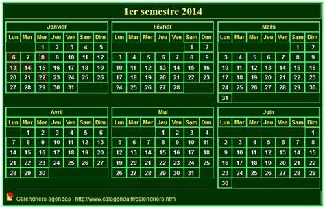 calendrier 2014 224 imprimer semestriel format mini de