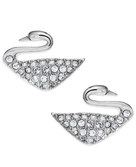 Sale Ring Handphone Swarowski Motif Malaikat swarovski rhodium plated swan stud earrings in metallic lyst